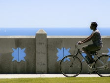 Bicycling by the ocean