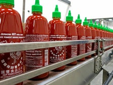 Sriracha bottles at Huy Fong Foods