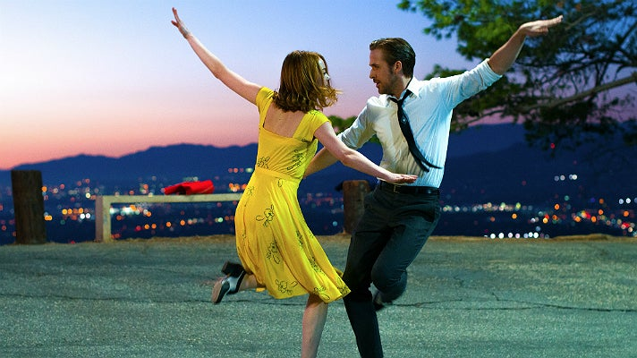 "Emma Stone and Ryan Gosling dancing in Griffith Park in ""La La Land"""