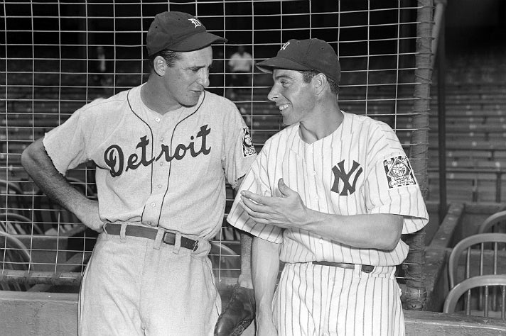 """Photo of Hank Greenberg and Joe DiMaggio from """"Chasing Dreams"""" at Skirball Cultural Center"""