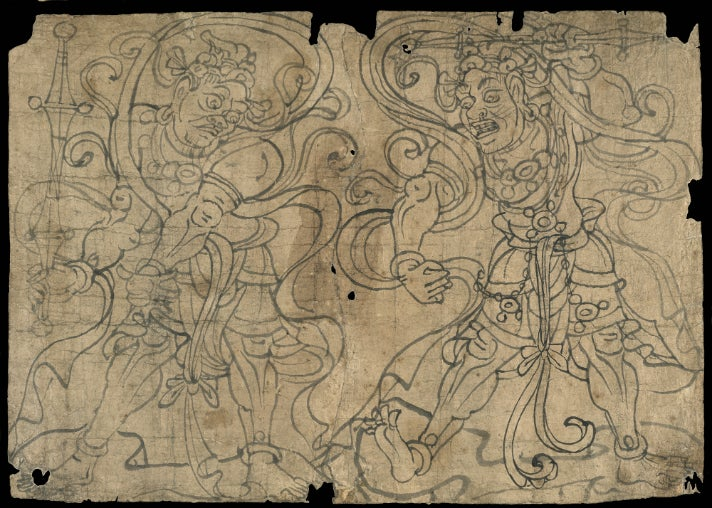 """Sketches of Vajra Deities from """"Cave Temples of Dunhuang"""" at Getty Center"""