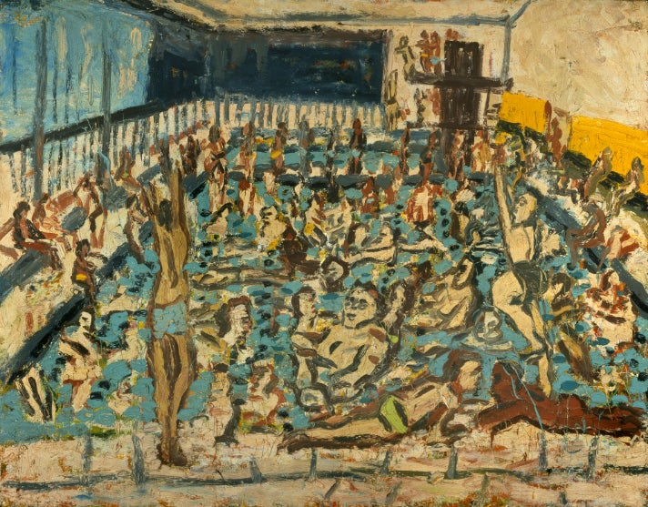 """""""Children's Swimming Pool, Autumn Afternoon,"""" 1971, by Leon Kossoff at the Getty Center"""