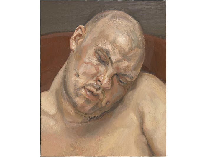 """""""Leigh Bowery,"""" 1991, by Lucian Freud at the Getty Center"""