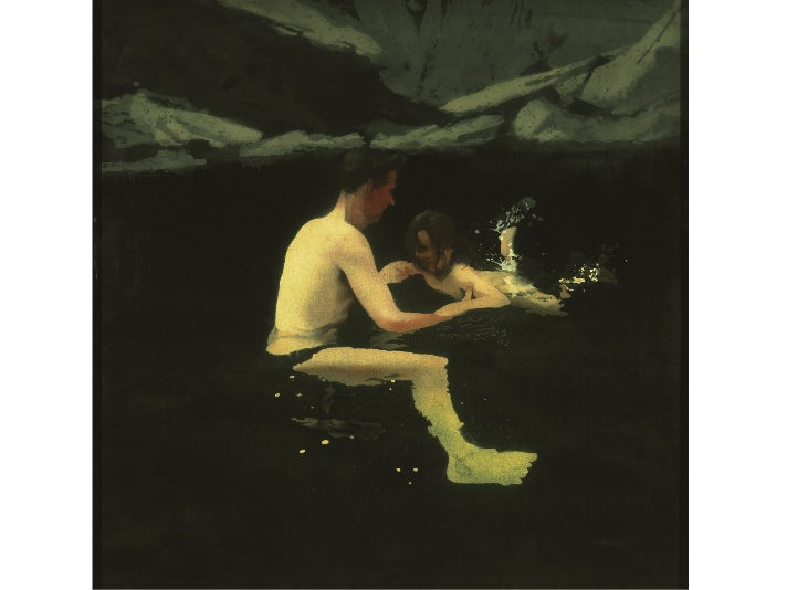 """""""Melanie and Me Swimming,"""" 1978–79, Michael Andrews at the Getty Center"""