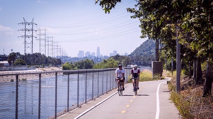 Bikers on the L.A. River Bike Path