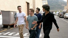 "The ""Entourage"" guys walk through the backlot of Warner Bros. Studios."