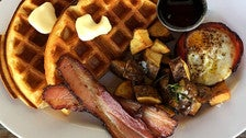 Waffle Platter at Chimney Coffee House