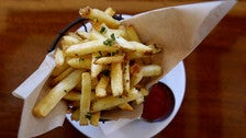 Salt brine Kennebec fries at Harlowe's French Dip
