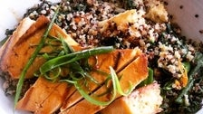 Red Quinoa Pilaf Bowl with Grilled Tofu at Akasha