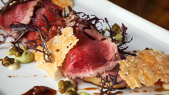 Seared venison carpaccio at Saddle Peak Lodge