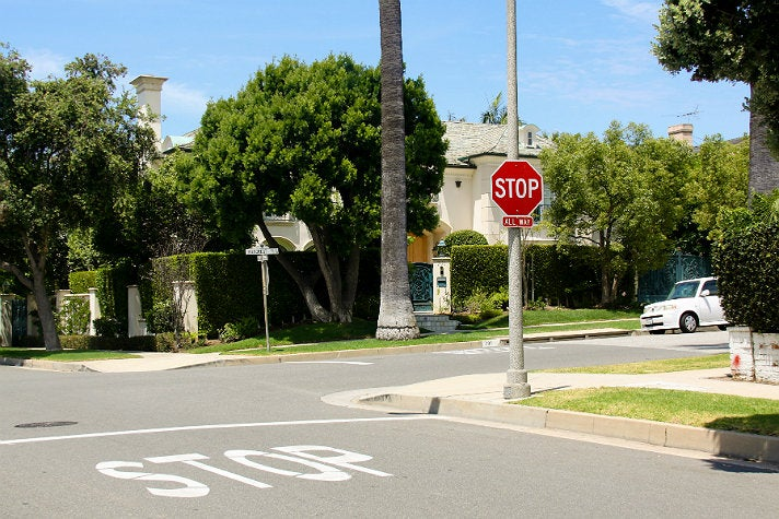 """Stop sign at 701 N. Hillcrest Rd. from """"Clueless"""""""