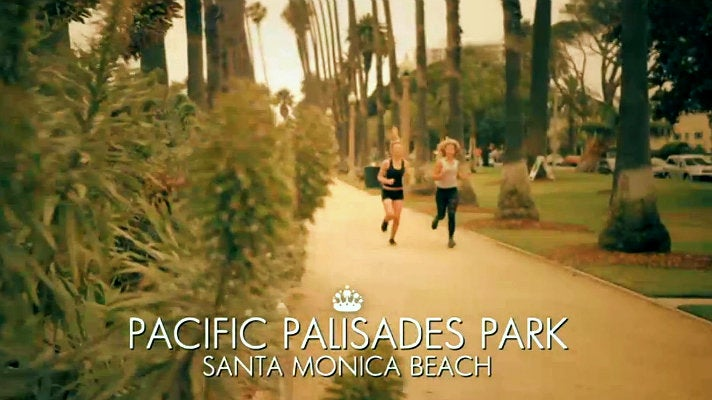Toff and Jess Woodley jogging at Palisades Park