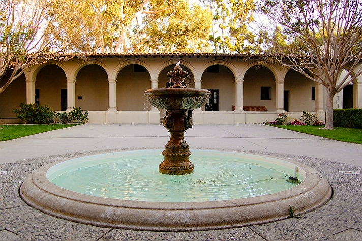 Courtyard of the Booth Music and Speech Center at Occidental College