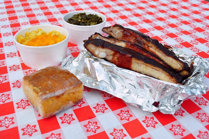 Lunch combo with ribs at Bludso's BBQ