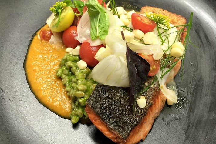 Wild King salmon with heirloom tomato and fennel at Strand House
