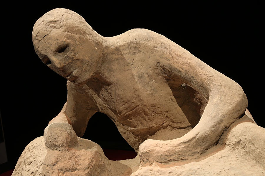 """Full body cast from """"Pompeii: The Exhibition"""" at the Reagan Library"""